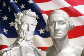 Photo of Abraham Lincoln and George Washington