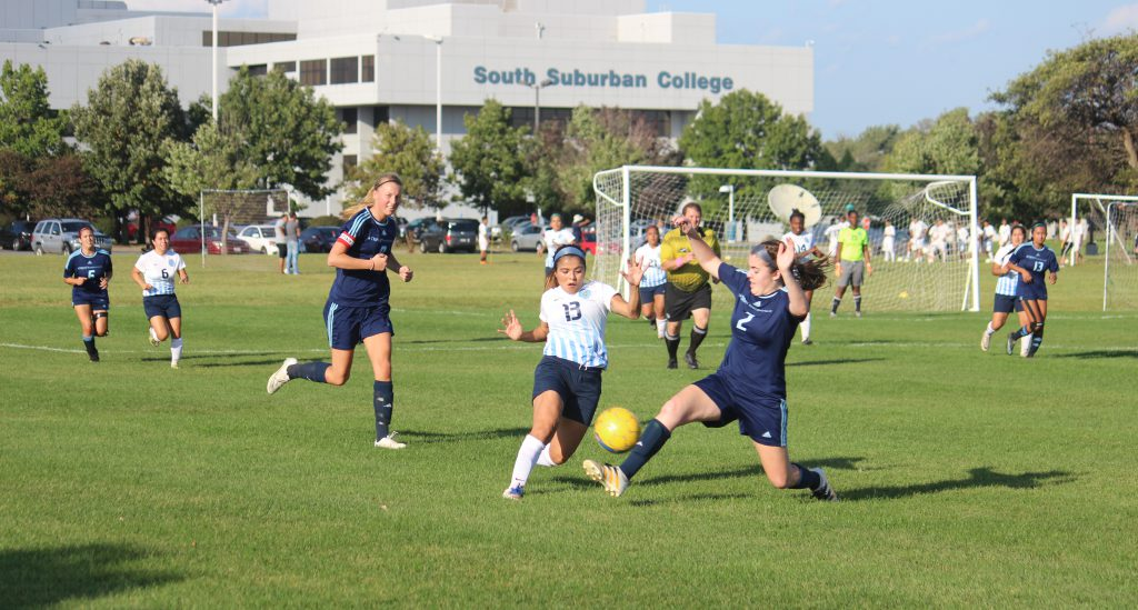 Lady Bulldogs Soccer Team in action