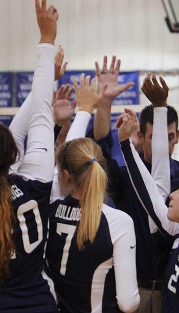 Volleyball team high fives