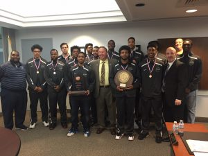Photo of SSC Chairman Frank Zuccarelli with Coach Pigatti (right) and SSC Bulldogs