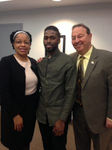 Songie Adebiyi, VP of Student Development; Ronnell Tatum, Student Trustee; and Frank Zuccarelli, Board Chairman, SSC