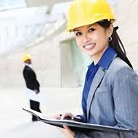 Photo of a woman in a hard hat