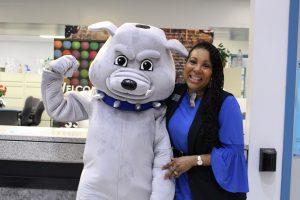 SSC Bulldog Mascot Bruno and Dean of Student Services Patrice Burton