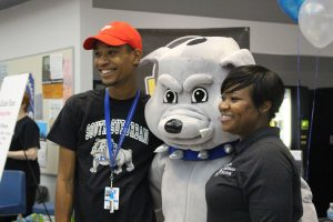 SSC's mascot Bruno the Bulldog was on hand as part of the fun at the South Suburban College Open House.