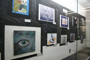 Artwork from Hillcrest High School students currently on display during SSC's Regional Student Art Exhibit