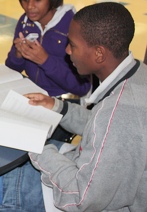 Photo of a student reading