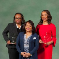 Photo of SSC President Dr. Lynette Stokes (middle), with Shanina Thomas and Latanya Allen.