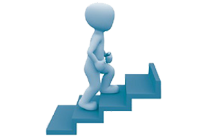 Graphic of a figure climbing up stairs