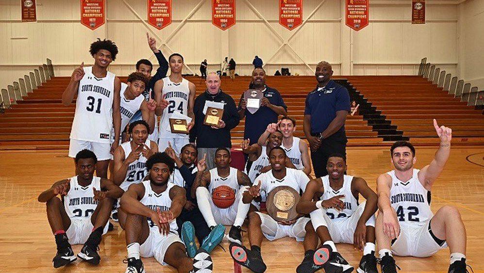Team photo of 2020-21 NJCAA Region IV Men's Basketball Champs - SSC Bulldogs