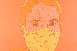 Portrait of Sumayya with Mask, Acrylic on Canvas, 2021