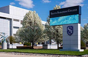 The exterior of South Suburban College in South Holland, IL